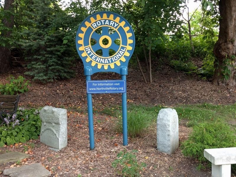 Rotary International Sign and Stones image. Click for full size.