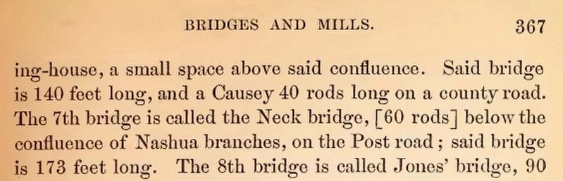 "Mention of the Neck Bridge in the 1879 ""History of the Town of Lancaster, Massachusetts:..."" image. Click for full size."