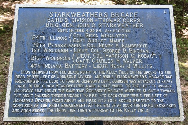 Starkweather's Brigade Marker image. Click for full size.