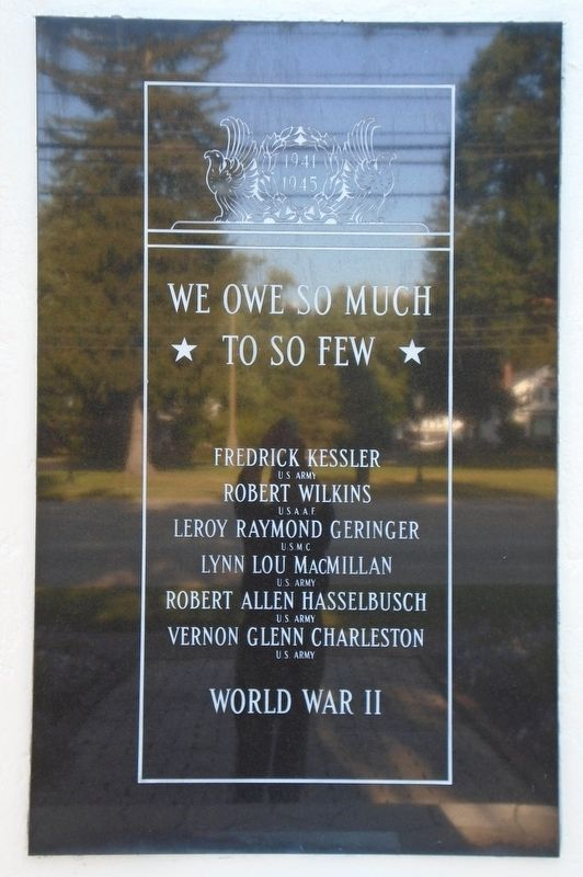 """Veterans Plaza"" World War II Marker image. Click for full size."