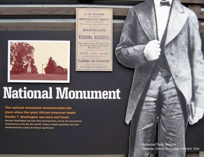 Booker T. Washington National Monument (Center 1/3 of marker.) image. Click for full size.