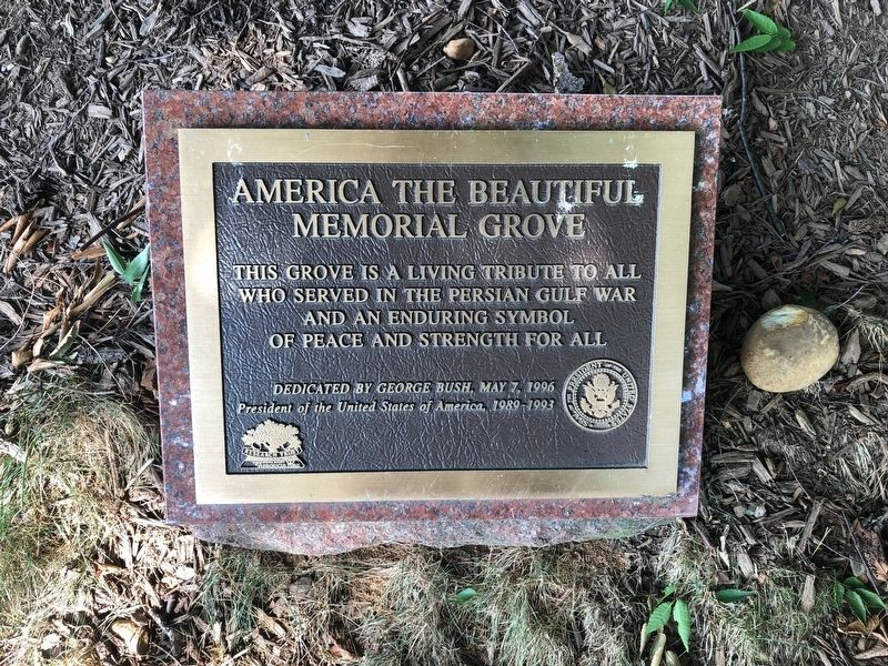 America the Beautiful Memorial Grove Marker image. Click for full size.