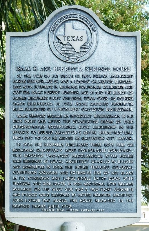 Isaac H. and Henrietta Kempner House Marker image. Click for full size.