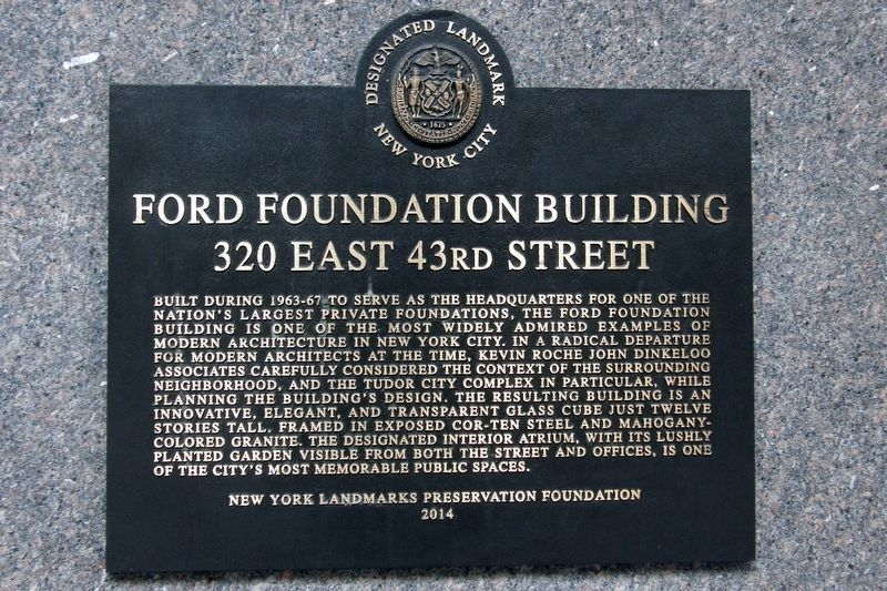 Ford Foundation Building Marker image. Click for full size.