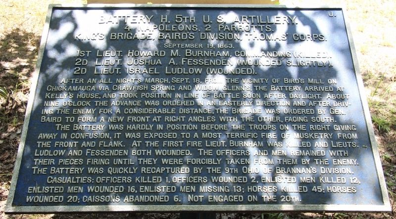 Battery H, 5th U.S. Artillery Marker image. Click for full size.