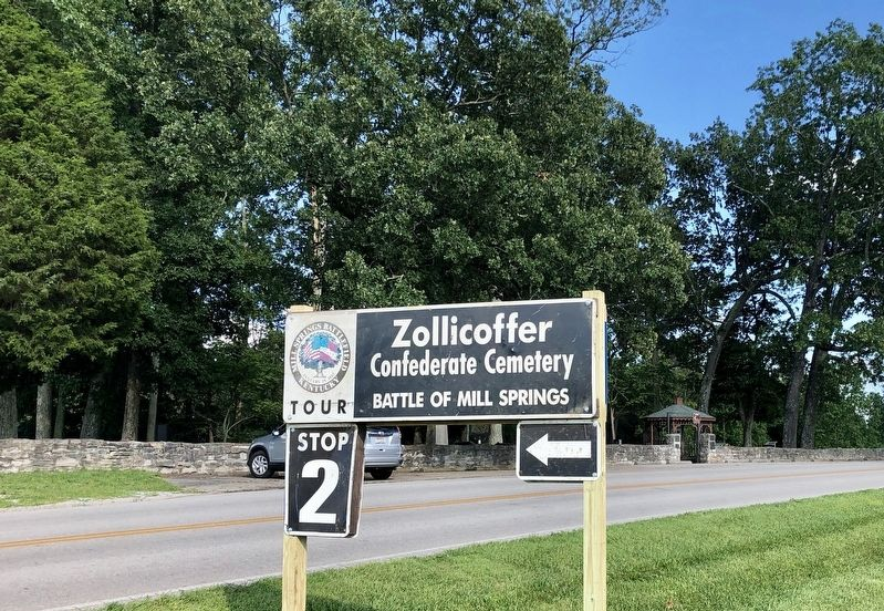Tour Stop #2, Zollicoffer Confederate Cemetery with marker on right. image. Click for full size.