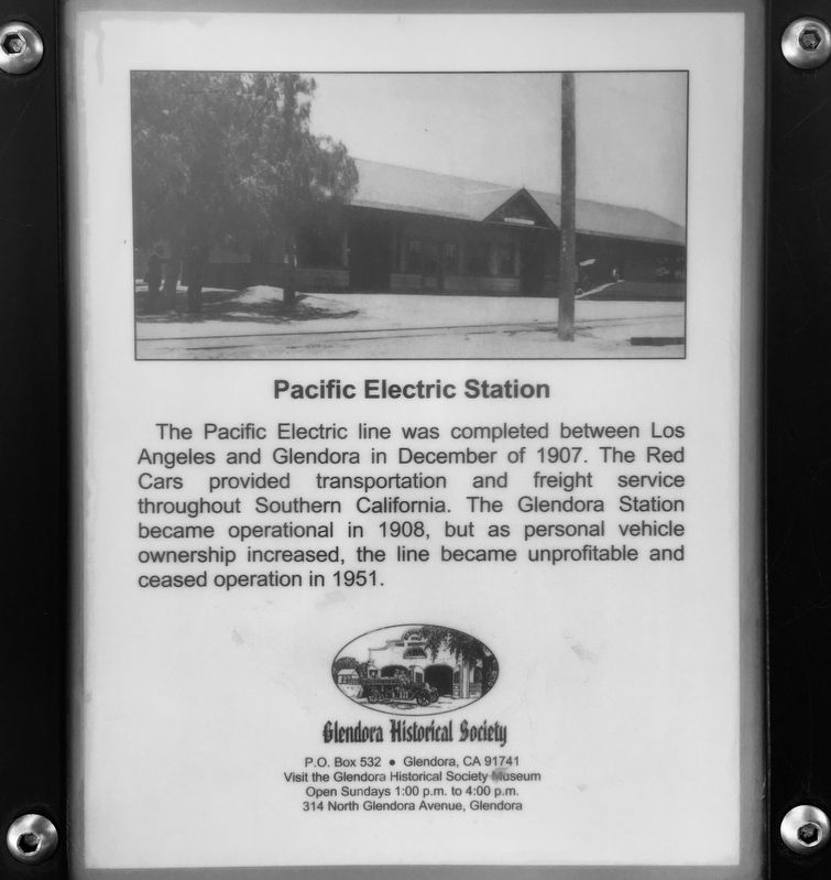 Pacific Electric Station Marker image. Click for full size.