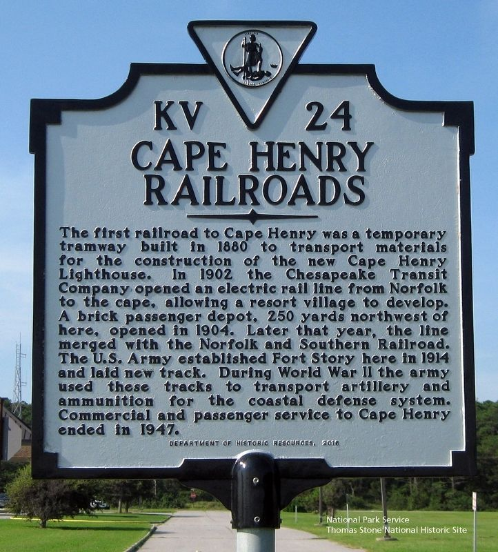 Cape Henry Railroad Marker image. Click for full size.