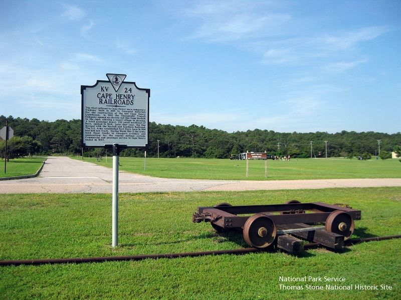 Cape Henry Railroad Marker and railway equipment. image. Click for full size.