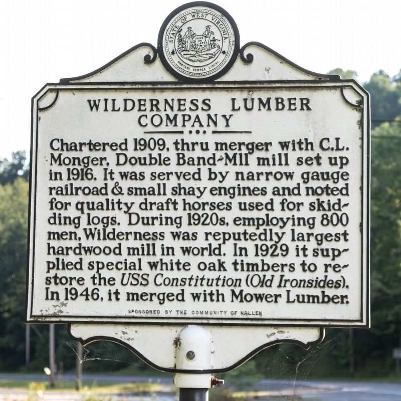 Wilderness Lumber Company side of marker image. Click for full size.