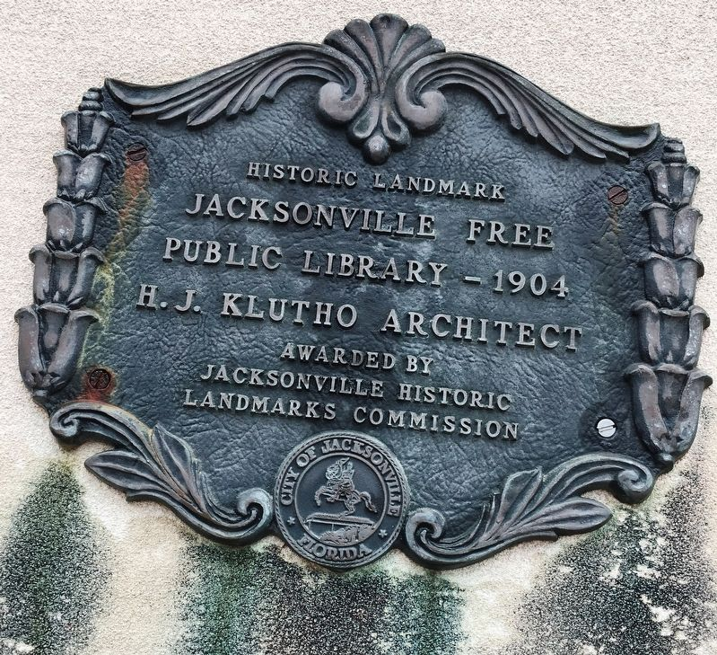 Jacksonville Free Public Library 1904 plaque image. Click for full size.