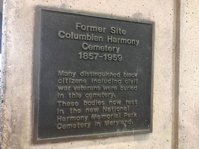 Former Site, Columbian Harmony Cemetery Marker image. Click for full size.