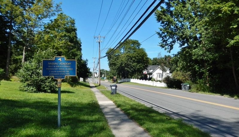 Nassau Academy Marker<br>(<i>wide view looking west along US Highway 20</i>) image. Click for full size.