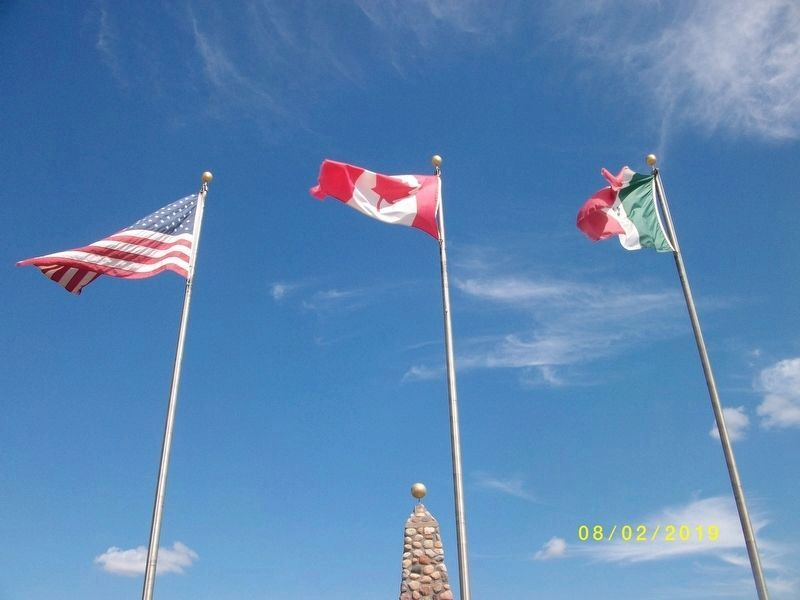 Flags at Geographical Center of North America Marker image. Click for full size.