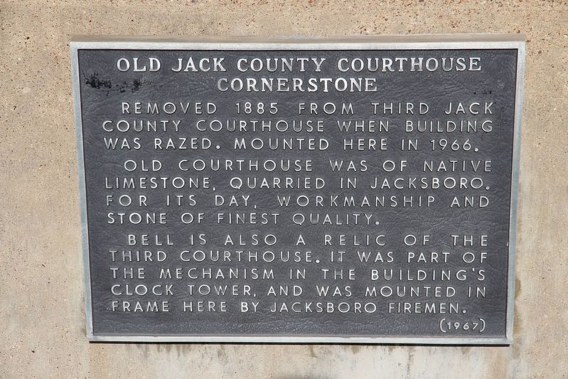 Old Jack County Courthouse Cornerstone Marker image. Click for full size.