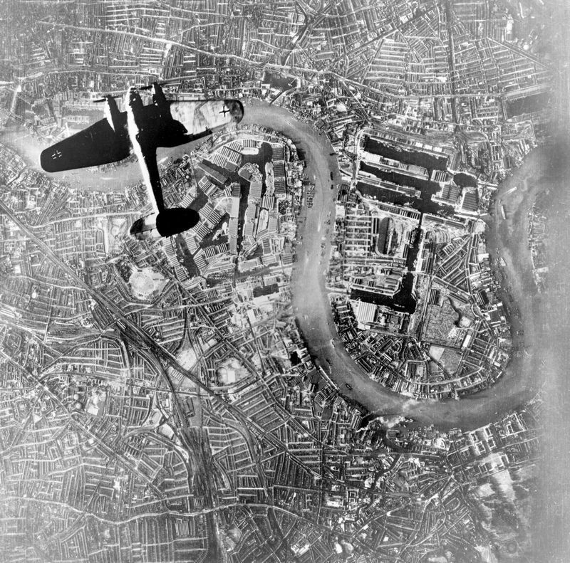 German Bomber over the East End of London image. Click for full size.