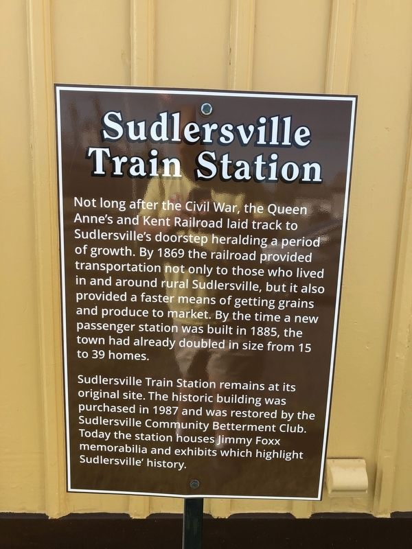 Sudlersville Train Station Marker image. Click for full size.