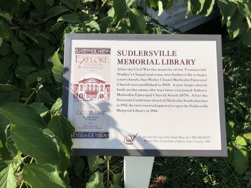 Sudlersville Memorial Library Marker image. Click for full size.