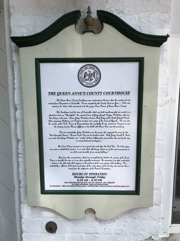 The Queen Anne's County Courthouse Marker image. Click for full size.