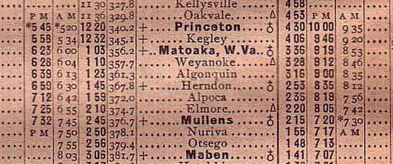 Virginian Railway June 10, 1925 Mainline Timetable image. Click for full size.