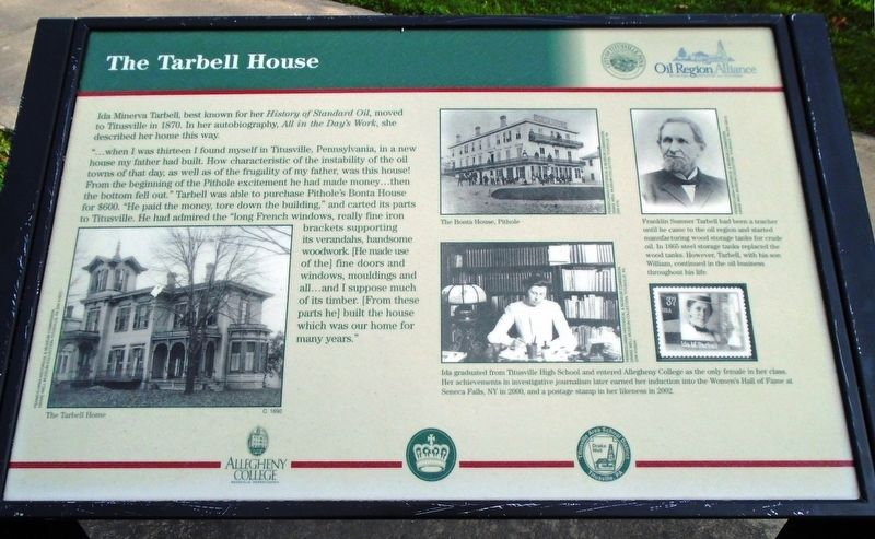 The Tarbell House Marker image. Click for full size.