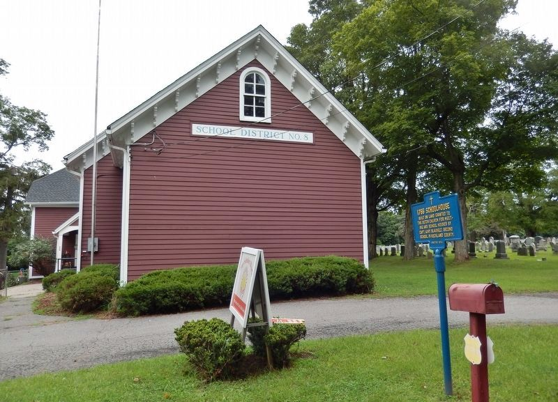 1786 Schoolhouse Marker<br>(<i>wide view looking north from Brick Church Road</i>) image. Click for full size.