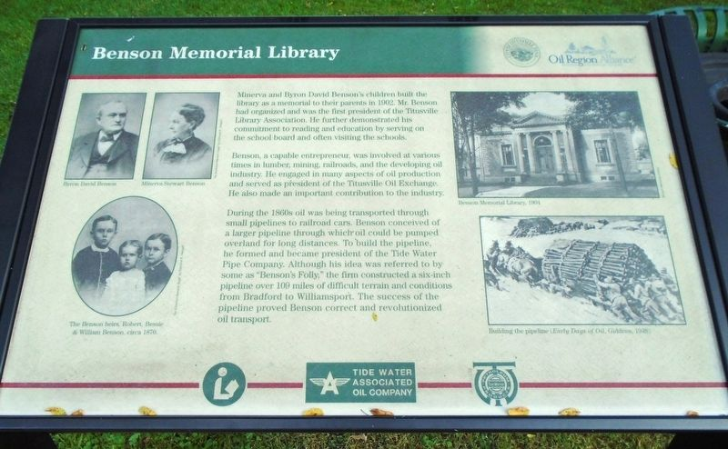 Benson Memorial Library Marker image. Click for full size.