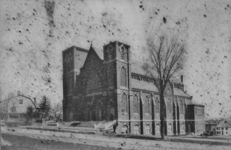 Marker detail: St. Mary's Church as it appeared in 1885 image. Click for full size.