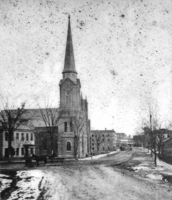 Marker detail: Edwards Church in the 1870s looking from Smith College image. Click for full size.