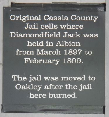 Cassia County Jail Marker image. Click for full size.