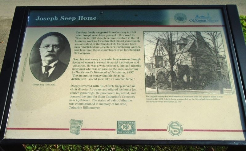 Joseph Seep Home Marker image. Click for full size.