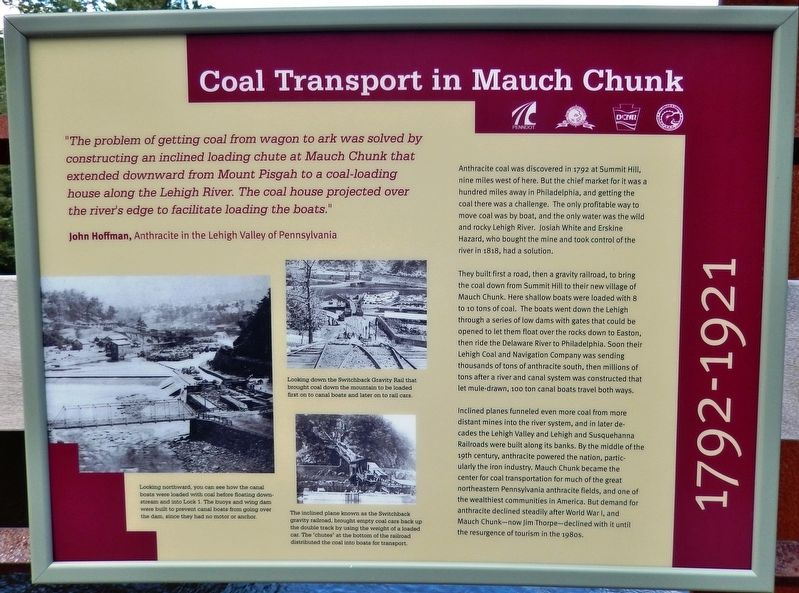 Coal Transport in Mauch Chunk Marker image. Click for full size.