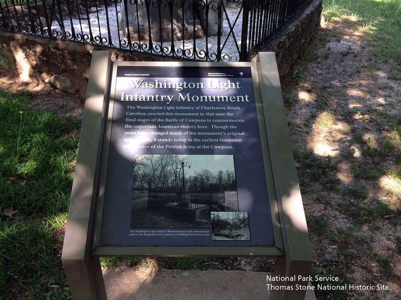 Washington Light Infantry Monument Marker. The monument's base is visible in the background. image. Click for full size.