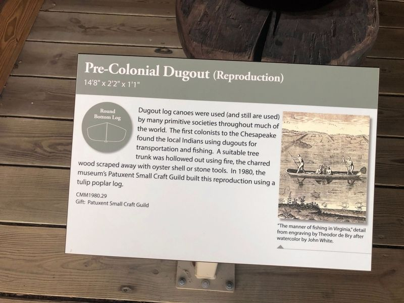 Pre-Colonial Dugout (Reproduction) Marker image. Click for full size.