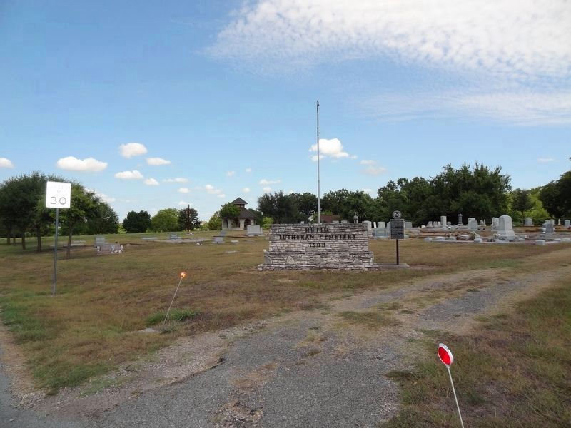 Hutto Lutheran Cemetery and Marker image. Click for full size.