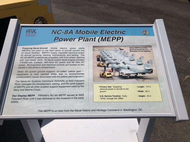 NC-8A Mobile Electric Power Plant (MEPP) Marker image. Click for full size.