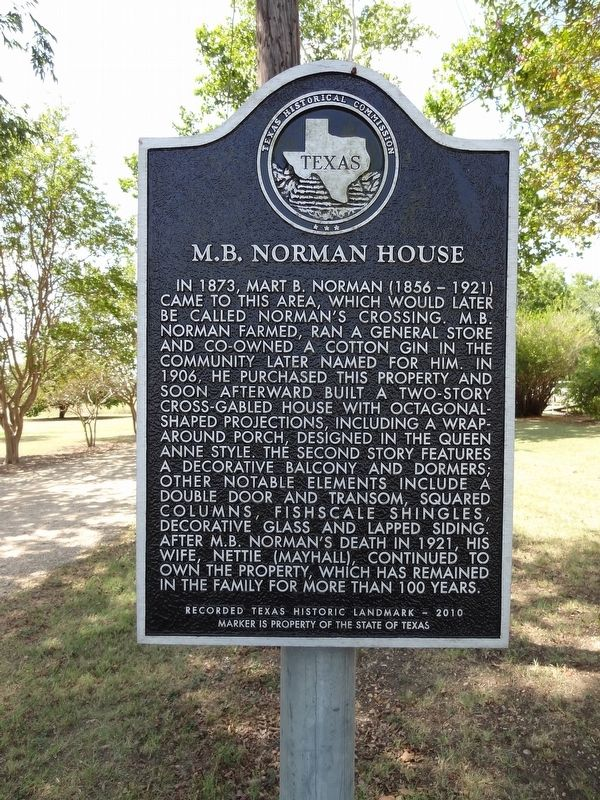 M.B. Norman House Marker image. Click for full size.
