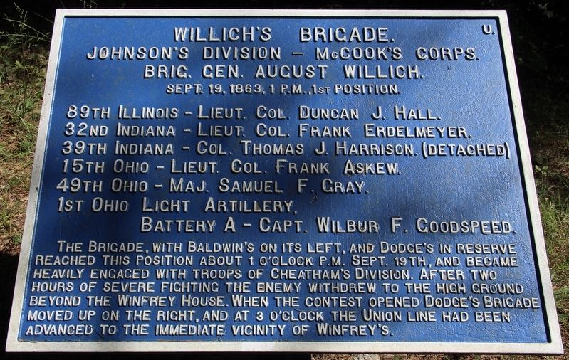 Willich's Brigade Marker image. Click for full size.