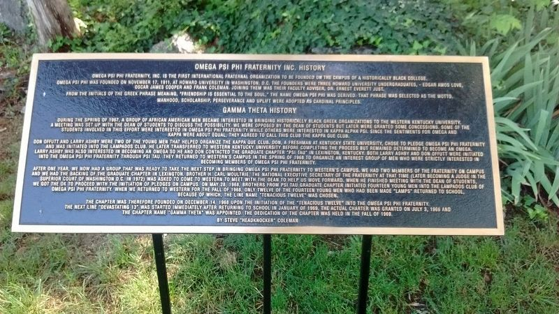 Omega Psi Phi Fraternity Inc. History Marker image. Click for full size.