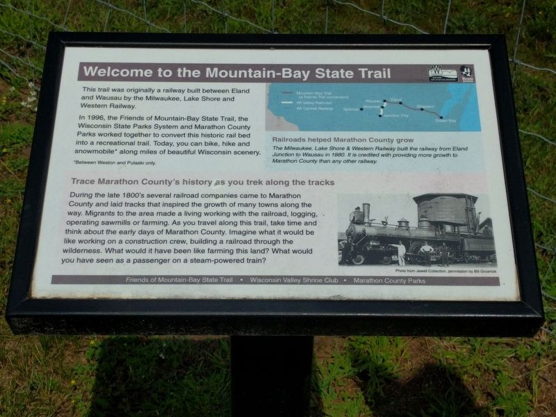 Welcome to the Mountain-Bay State Trail Marker image. Click for full size.
