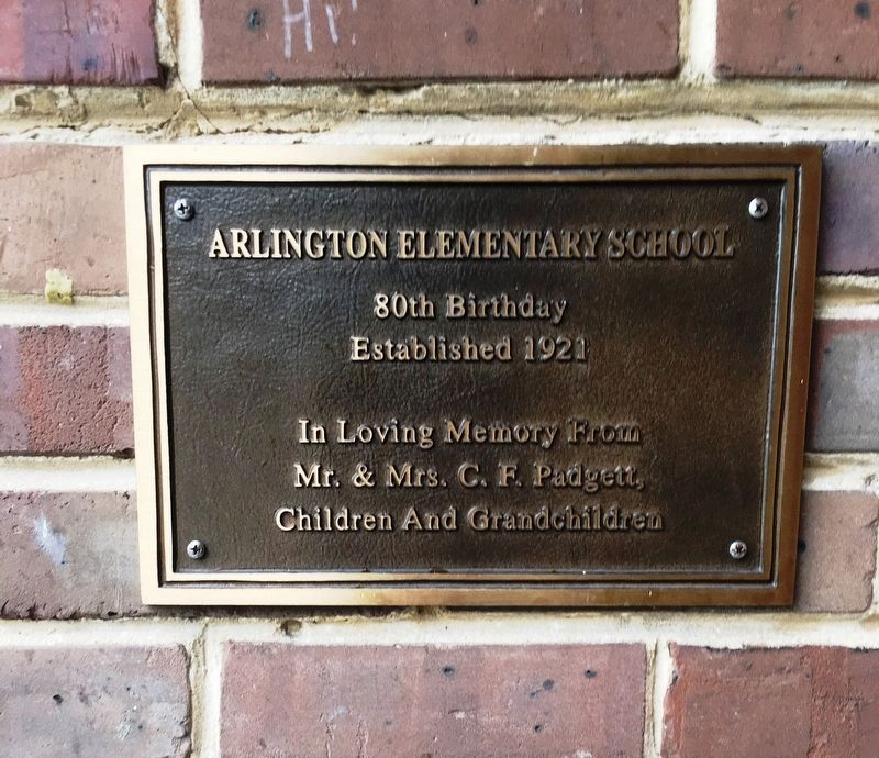 Arlington Elementary School 80th Birthday Plaque image. Click for full size.