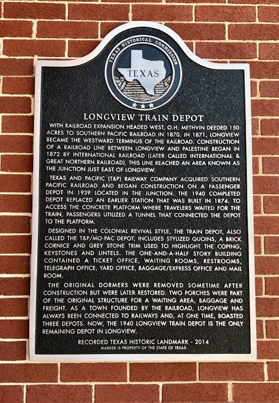 Longview Train Depot Marker image. Click for full size.