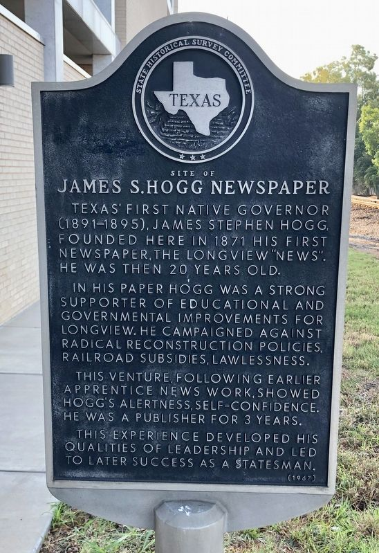 Site of James S. Hogg Newspaper Marker image. Click for full size.