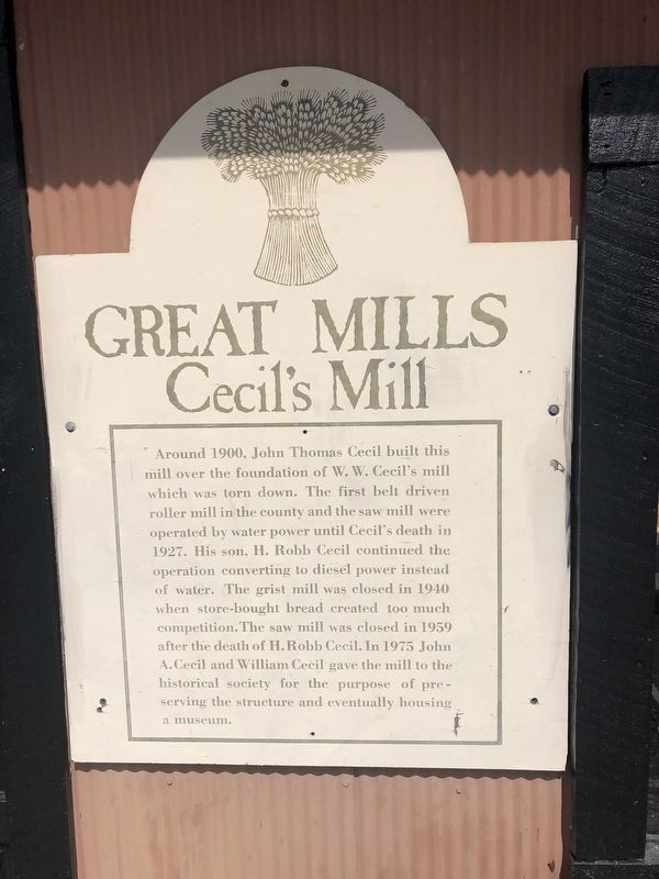 Cecil's Mill Marker image. Click for full size.