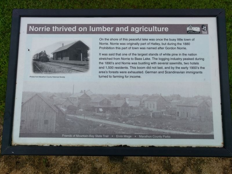 Norrie thrived on lumber and agriculture Marker image. Click for full size.