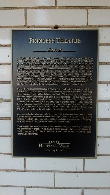 Princess Theatre Marker image. Click for full size.