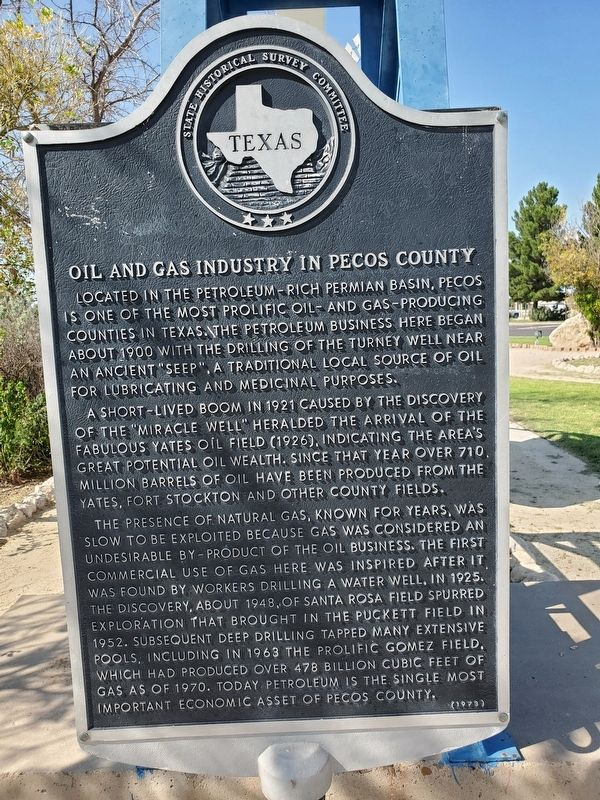 Oil and Gas Industry in Pecos County Marker image. Click for full size.