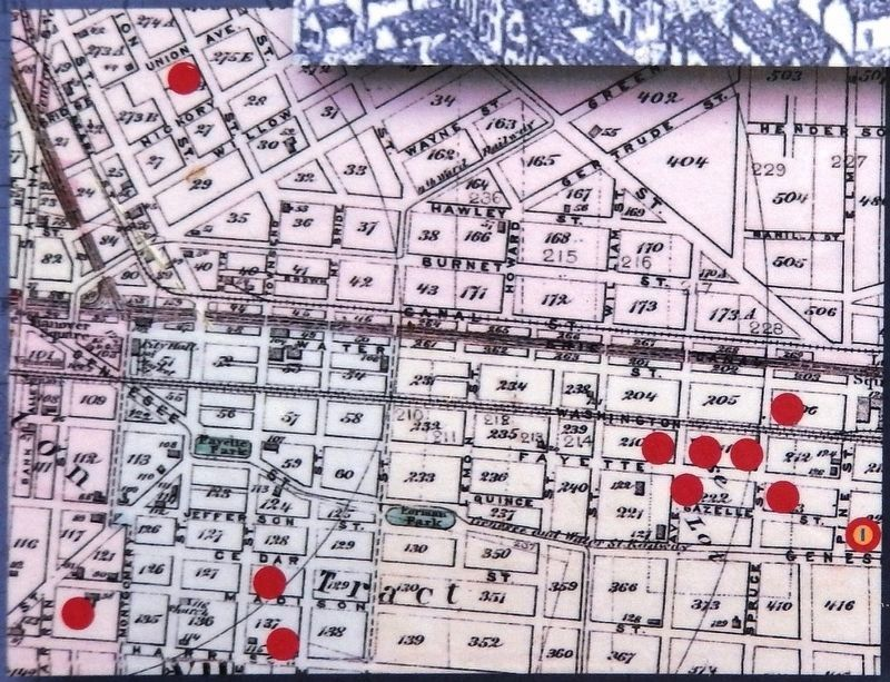 Marker detail: Map of Loguen property in Syracuse image. Click for full size.