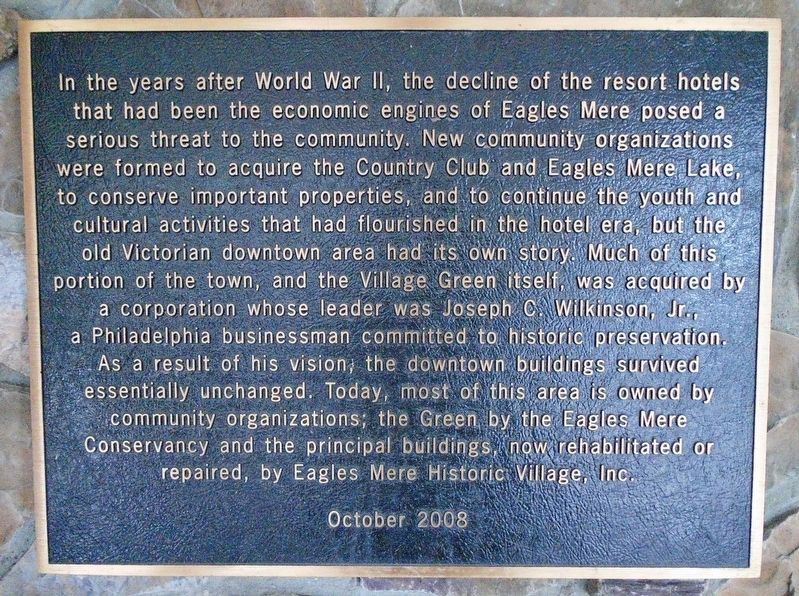 Eagles Mere Downtown Revitalization Marker image. Click for full size.