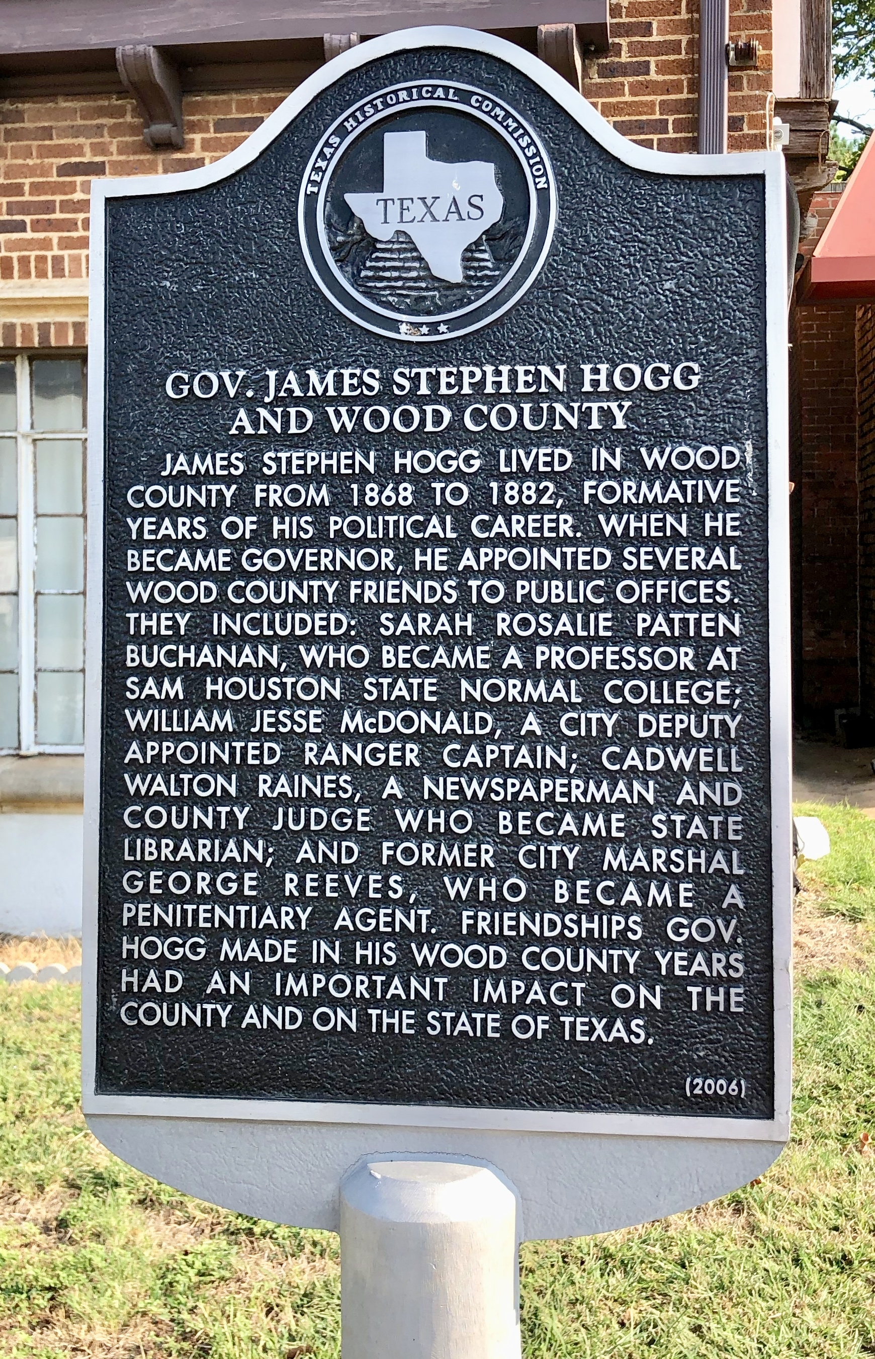 Gov. James Stephen Hogg and Wood County Marker